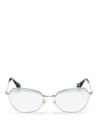 Main View - Click To Enlarge - miu miu - Acetate brow bar wire rim optical glasses