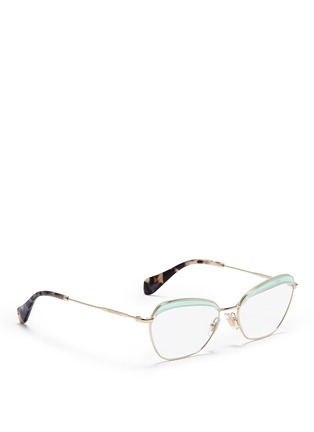 Figure View - Click To Enlarge - miu miu - Acetate brow bar wire rim optical glasses