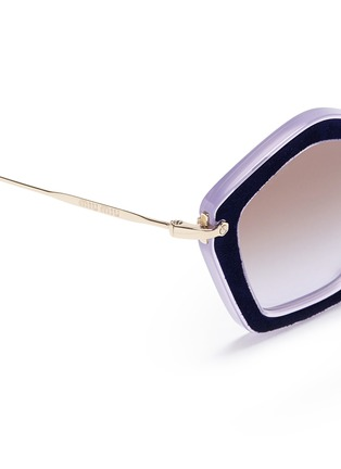 Detail View - Click To Enlarge - miu miu - 'Culte' suede pentagon frame acetate sunglasses