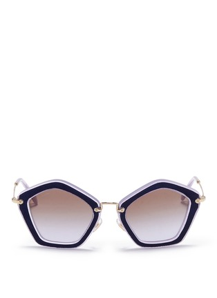 Main View - Click To Enlarge - miu miu - 'Culte' suede pentagon frame acetate sunglasses