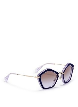 Figure View - Click To Enlarge - miu miu - 'Culte' suede pentagon frame acetate sunglasses