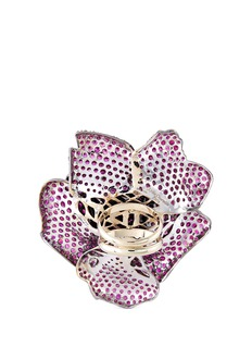 Lydia Courteille Diamond ruby 18k white gold floral ring