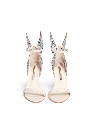 Front View - Click To Enlarge - Sophia Webster - 'Evangeline' metallic lasercut Angel Wing leather sandals