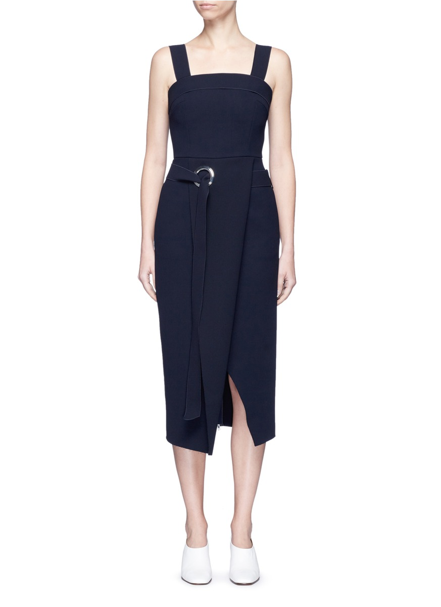 Belted fold front sleeveless midi dress by Comme Moi
