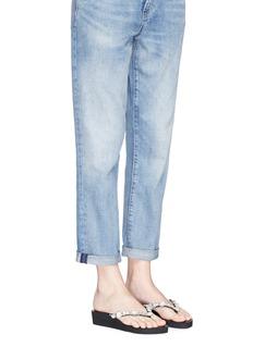Uzurii 'Marilyn Mid Heel' crystal wedge thong sandals