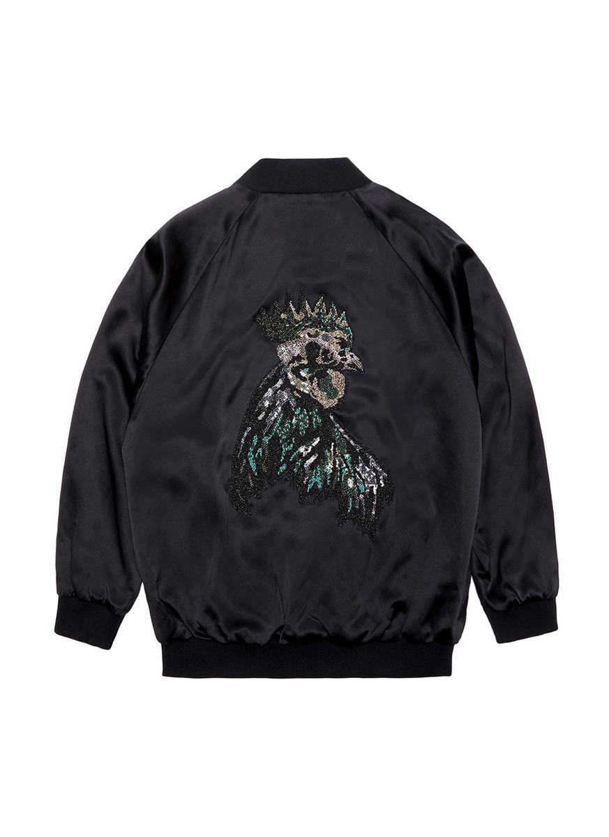 Rooster embellished unisex silk satin bomber jacket by Jay Ahr