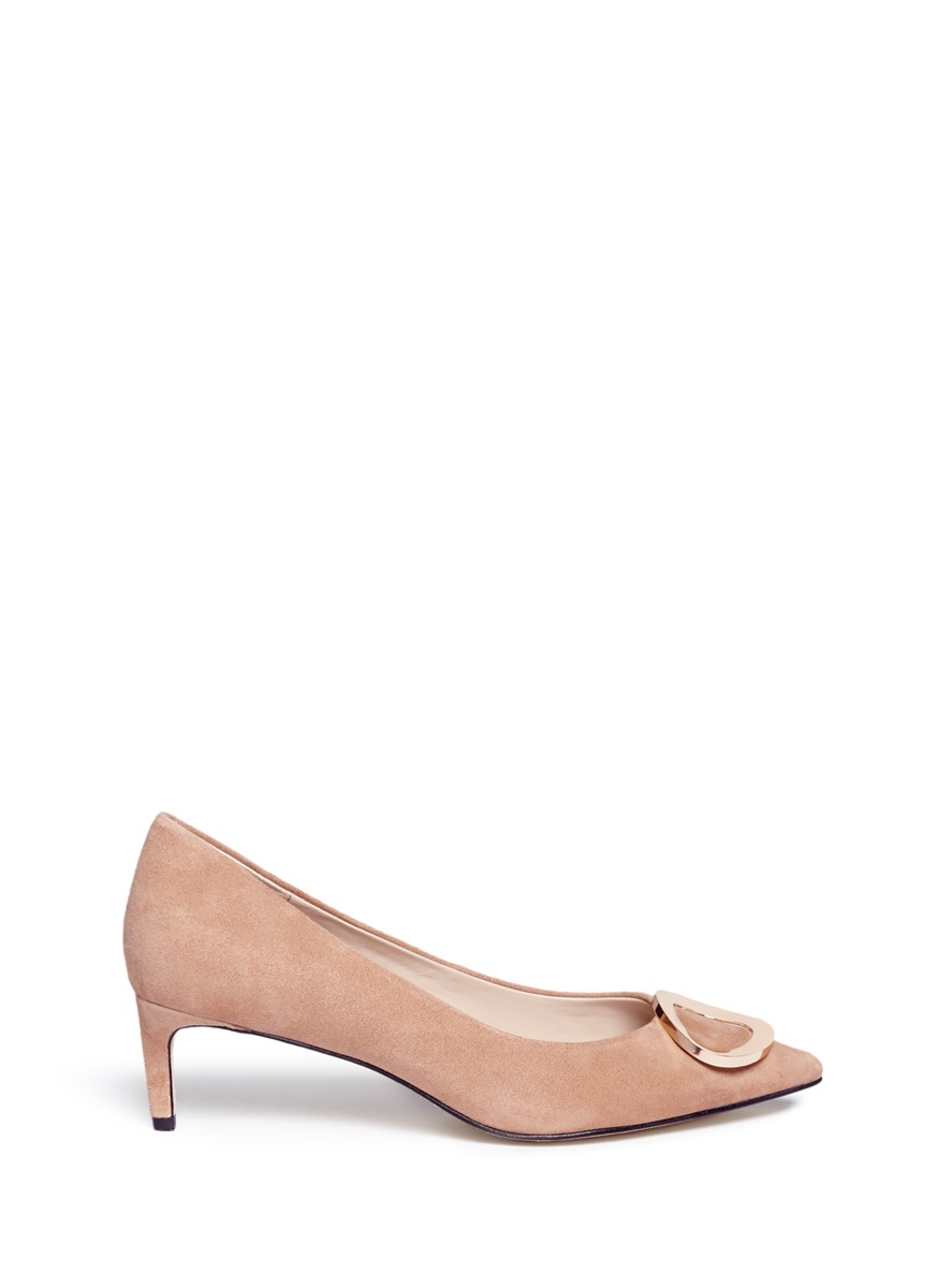 Riley circular plaque kitten heel suede pumps by Pedder Red