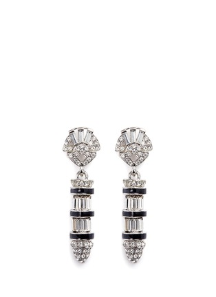 Main View - Click To Enlarge - Kenneth Jay Lane - Enamel bullet drop glass crystal clip earrings