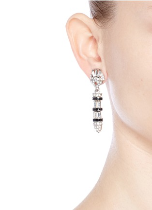 Figure View - Click To Enlarge - Kenneth Jay Lane - Enamel bullet drop glass crystal clip earrings
