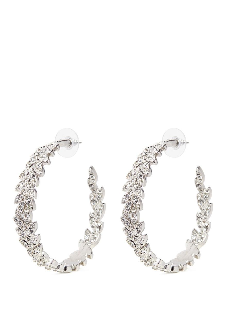kenneth jay lane female glass crystal pave leaf wreath hoop earrings
