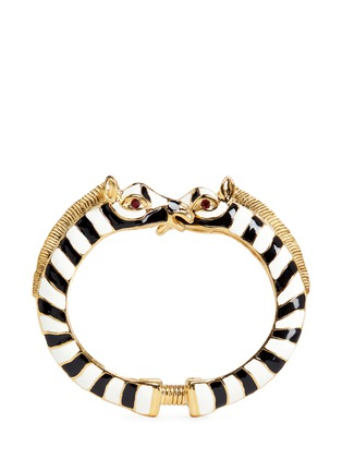 Main View - Click To Enlarge - Kenneth Jay Lane - Enamel double zebra gold plated cuff