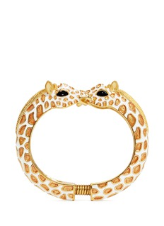Kenneth Jay Lane Enamel double giraffe gold plated cuff