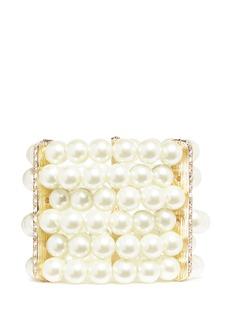 Kenneth Jay LaneGlass pearl crystal pavé gold plated bracelet
