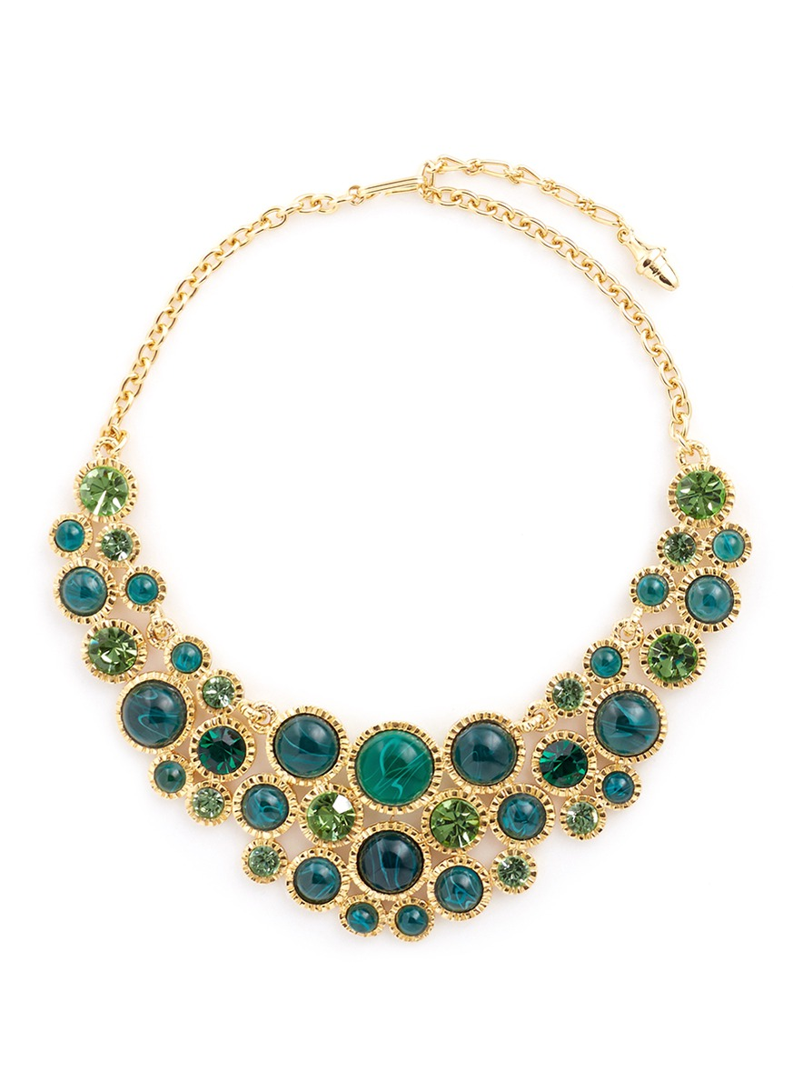 Glass crystal cabochon gold plated necklace by Kenneth Jay Lane