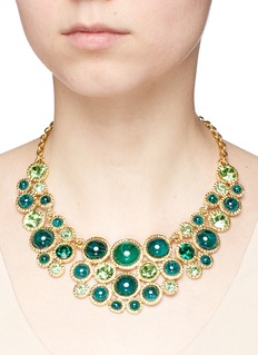 Kenneth Jay Lane Glass crystal cabochon gold plated necklace