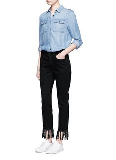 3x1'WM3' fringed cuff cropped jeans