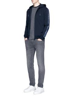 Armani CollezioniMesh trim zip hoodie