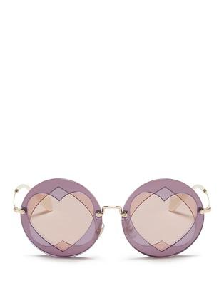 Main View - Click To Enlarge - miu miu - Cutout heart window round sunglasses