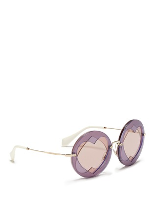 Figure View - Click To Enlarge - miu miu - Cutout heart window round sunglasses