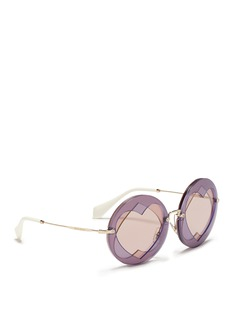 miu miu Cutout heart window round sunglasses