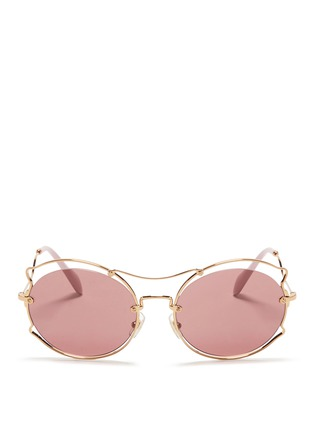 Main View - Click To Enlarge - miu miu - Pinched wire rim sunglasses