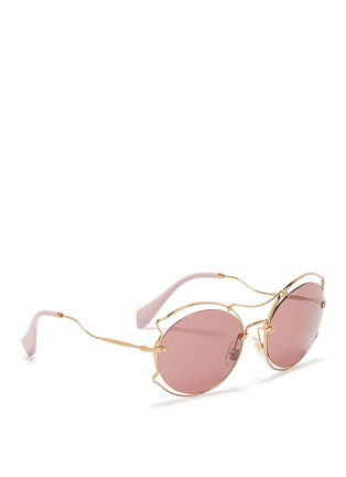 Figure View - Click To Enlarge - miu miu - Pinched wire rim sunglasses