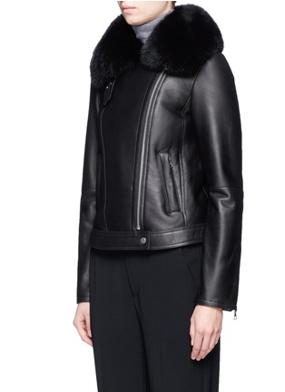 Front View - Click To Enlarge - Theory - 'Pomono' lamb shearling leather moto jacket