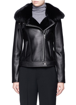 Main View - Click To Enlarge - Theory - 'Pomono' lamb shearling leather moto jacket