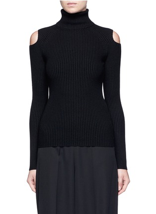 Main View - Click To Enlarge - Theory - 'Jemless' cold shoulder turtleneck sweater