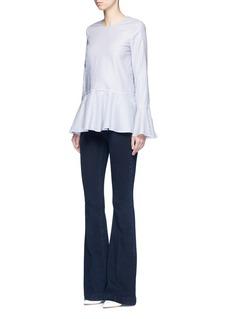 Theory'Lexanda' bell sleeve stripe cotton peplum top