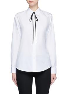 THEORY'Anesha' ribbon neck tie cotton shirt