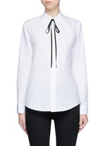 'Anesha' ribbon neck tie cotton shirt