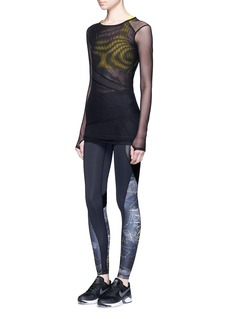 Alala'Open Up' panelled mesh long sleeve T-shirt