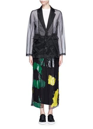 Detail View - Click To Enlarge - TOGA ARCHIVES - Coated paint mesh hem organdy long coat