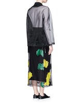 Coated paint mesh hem organdy long coat