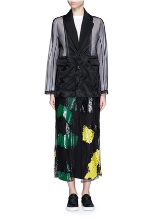 Main View - Click To Enlarge - TOGA ARCHIVES - Coated paint mesh hem organdy long coat