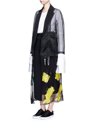 Figure View - Click To Enlarge - TOGA ARCHIVES - Coated paint mesh hem organdy long coat