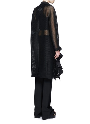 Back View - Click To Enlarge - TOGA ARCHIVES - Lapel overlay ruffle hem mesh coat