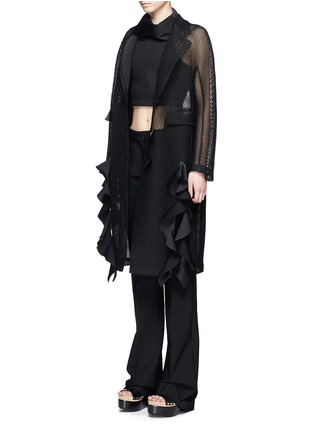 Figure View - Click To Enlarge - TOGA ARCHIVES - Lapel overlay ruffle hem mesh coat