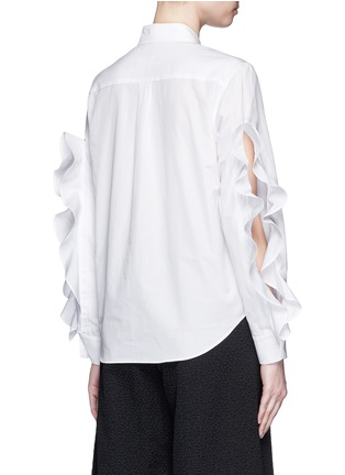Back View - Click To Enlarge - TOGA ARCHIVES - Cutout ruffle sleeve poplin shirt