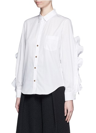 Front View - Click To Enlarge - TOGA ARCHIVES - Cutout ruffle sleeve poplin shirt