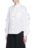 Cutout ruffle sleeve poplin shirt