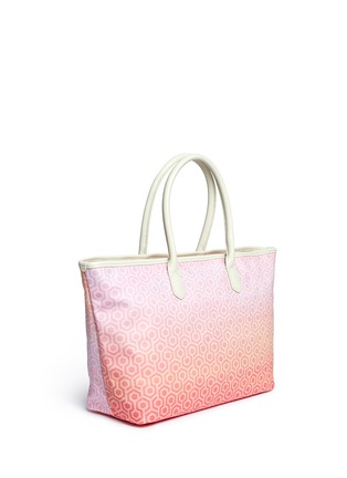 Front View - Click To Enlarge - Mischa - 'Shopper Tote' in gradient Seigaiha wave hexagon print
