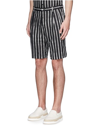 Front View - Click To Enlarge - Dolce & Gabbana - Vertical stripe cotton shorts