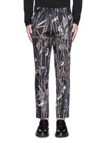 Bird and bamboo print cotton twill pants