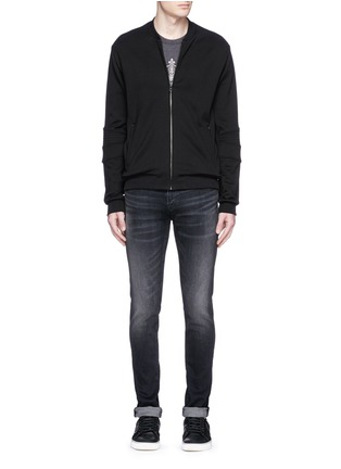 Figure View - Click To Enlarge - Dolce & Gabbana - Biker sleeve cotton bomber jacket