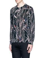 Bird and bamboo print silk sweater