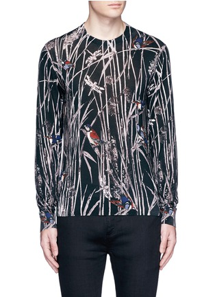 Main View - Click To Enlarge - Dolce & Gabbana - Bird and bamboo print silk sweater