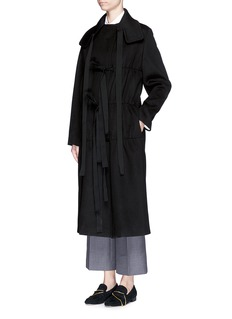 PORTS 1961Ruche bow double faced wool-cashmere coat