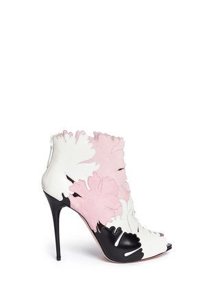 Main View - Click To Enlarge - Alexander McQueen - Lotus flower appliqué leather peep toe boots